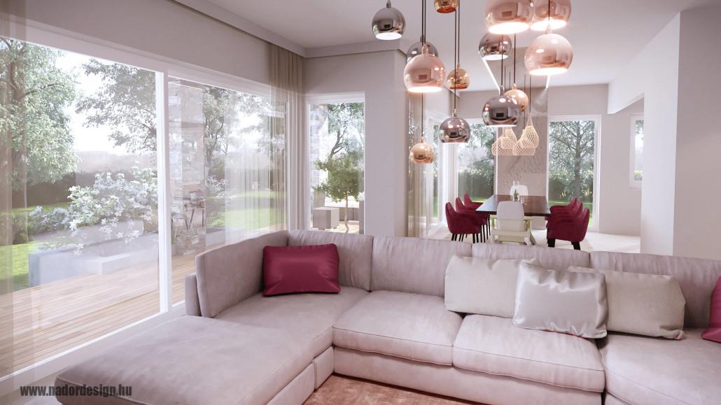 Letisztult beton dekoráció - nagy családi terek - Nádor Zsuzsa Design